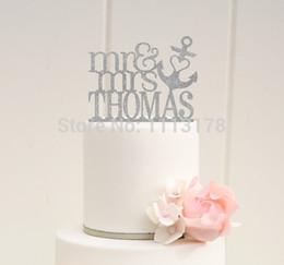 torta nuziale della spiaggia Sconti Wholesale- Glitter Mr e Mrs Wedding Cake Topper con il TUO Cognome Anchor Anchor Beach Toppers