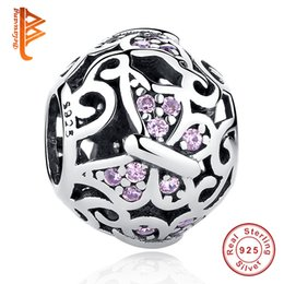 Wholesale Crystal Butterfly Charms - BELAWANG Wholesale 925 Sterling Silver Charms Pink Crystal Butterfly Bead Charm fit Pandora Charm Bracelets for Women Jewelry Accessories