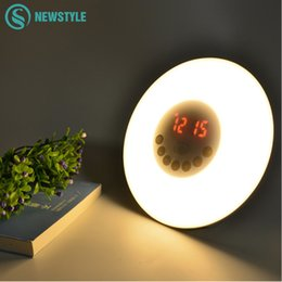 Wholesale Wake Up Light Clock - Wholesale- Novelty LED Alarm Clock Light With Digital Radio Bedroom Night Light Sunrise Wake up LED Light Free Shipping