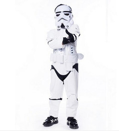 Wholesale Children Classic Movies - New Child kids Deluxe Wars The Force Awakens Storm troopers Cosplay Fancy Dress Classic Halloween Faux Leather Costumes