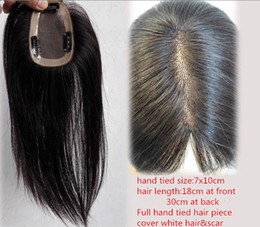 Wholesale Toupees Clips - Wholesale-New 12inch Women Mono HairPiece Straight 7x10cm Hand tied Clip In Toupee Vierges Top Closure Naturels Cabelo for Covering Scar