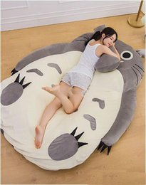Wholesale Beanbag Free Shipping - High Quality 190cm X 130cm Anime Totoro Bed Cute Huge Totoro Bed Tatami Carpet Sofa Beanbag Free Shipping