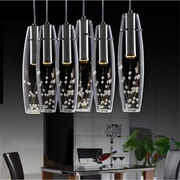 Wholesale Vase Modern Glass - Modern Luxury LED Dining Room crystal chandelier Glass Vase Bottles Light Crystal Flowers Inside Bar Counter Restaurant Pendant Light