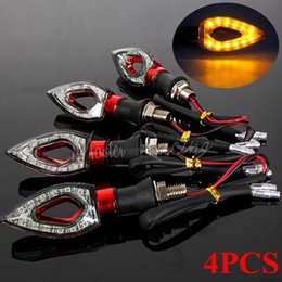 Wholesale Wholesale Motorcycle Led Kit - 4x 12V Universal Motorcycle LED Turn Signal Indicators Blinker Amber Light Red Motorbike Lamp Bulb Super Bright For Honda Yamaha