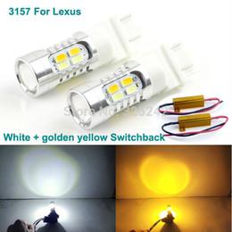 Wholesale 3157 Led Lights Dual Color - Excellent Ultrabright 3157 Dual-Color Switchback LED DRL Parking+front Turn Signal light For Lexus HS250h LX570 led light