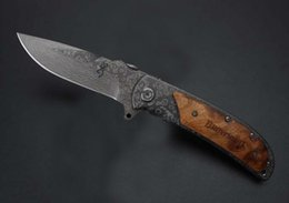Wholesale Pocket Knives Damascus - New Browning 338 Folding Knife Stainless Steel Damascus tattoo Kageki handle Camping knife Pocket tactical knives Gift Knives B216Q