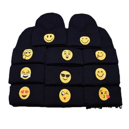 Wholesale Funny Tie - 6mg Patch QQ Expression Package Emoji Beanies Smiling Face Woolen Knitted Hats Autumn And Winter Models Heap Ski Caps Funny New