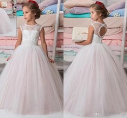 Encaje brillante con cuentas árabe 2017 vestidos de niña de las flores Crew vestido de bola Vintage Vestidos infantiles Hermosa niña de flores vestidos de novia desde fabricantes
