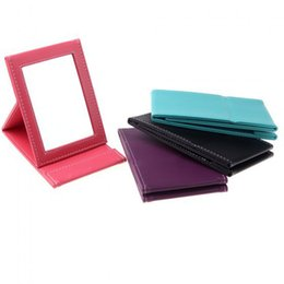 Wholesale Mirror Free Standing - Portable Makeup Mirror Travel Leather Desktop Strong Foldable Table Compact Mirrors Cosmetic Vanity Stand Mirror Free Shipping ZA2074