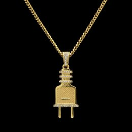 Wholesale Diamond 24 - Simulated Crystal Plug Pendant Necklace Hiphop Gold Silver Plated Ice Out CZ Diamond Charm Necklace 24'' Cuban Chain