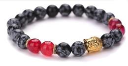 Wholesale Ancient Stone Bead - 2016 Personalized jewellery Ancient gold Buddha head snowflake plated lapis stone bracelet gemstonel square natural stone beads bracelet