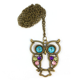 Wholesale Crystal Owl Pendant Necklace - Wholesale-Brand new Women Lady Crystal Blue Eyed Owl Long Chain Pendant Sweater Coat Necklace #20 2016 Gift 1pc