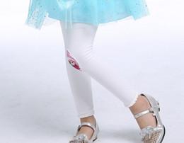 Wholesale Children Cheap Tights Leggings - White Pink 2 Colors Frozen Elsa Anna Princess Leggings Baby Girls' Cartoon Pants Cheap Wholesale Movie Tights Free Shipping Children Clothes