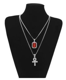 Wholesale Bling Cross Jewelry - 2018 mens jewerly Egyptian Ankh Key of Life Bling Rhinestone Cross Pendant Red Ruby Pendant Necklace Set Men Fashion dancer Jewelry