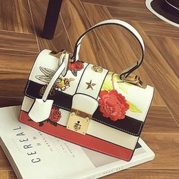 Wholesale Embroidered Leather Shoulders Bags - party bags evenings bags flower embroidered bag famous brand leather handbag fashion top-handle bags women crossbody shoulder G