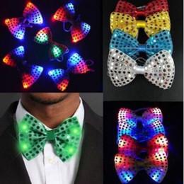 Wholesale Sequin Neck Ties - Christmas Sequins LED Necktie Light Up Neck Tie Luminous LED Bowtie Flashing Blinking Party Favors CCA8405 100pcs