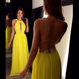 Wholesale Straight Chiffon Red Dresses - Prom Dresses Long Yellow 2017 Cheap Keyhole O-Neck Straight Chiffon Illusion Back Formal Evening Party Gowns Floor Length Sheer Lace