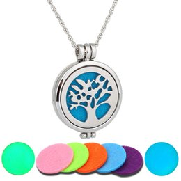 Wholesale Tree Life Oils - 2017 NEW Perfume Disffuser Luminous Necklaces Tree Of Life Aromatherapy Locket Essential Oil Diffuser Locket Cage Pendant Pendant Necklace