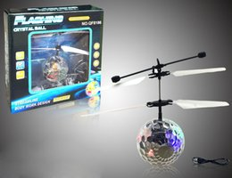 Wholesale Mini Rc Toy Ufo - Aircraft Fly Ball Toy Crystal Vehicle Flying RC Flying Ball Mini Fun Kids Toy Infrared Sense Induction Mini Flashing Light UFO LED Toy