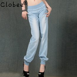 Wholesale Big Funding - Wholesale- 2017 Summer New Thin Funds Breathable Cool Tencel Jeans Wide Leg Pants Big Yards Elastic Waist Pants For Women