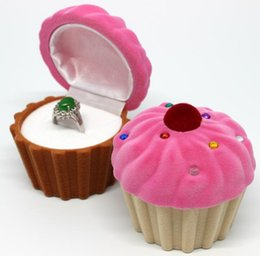 Wholesale Cup Cakes Boxes - Cute Cake Cup Shape Velvet Ring Box Earring Pendant Jewelry Treasure Gift Case 10pcs set free shipping