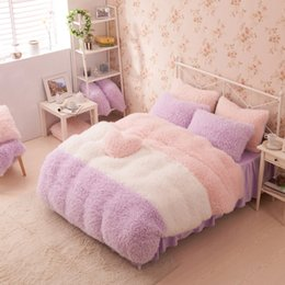 Wholesale Girls Crib Sheets - Wholesale- Pink Color Thick Fleece Princess Girls Bedding Sets King Queen Twin Size Bed Set Winter Duvet Cover Bed Sheet Pillow Sham Gift