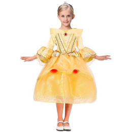 Wholesale Wholesale Beauty Pageant Dresses - Children Princess Dresses Party Pageant Ball Gown Long Pleated Cosplay Dress Aurora Belle Sophia Aurora Gauze Lace Sleeping Beauty XL-TS18
