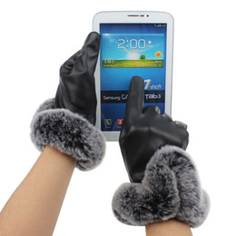 Wholesale Fingerless Gloves Boys - Wholesale- women velvet glove PU Leather Girls Luxuy Driving Mittens Winter boy girl Screen Gloves Gloves Guantes Smart Phone 22.5cm