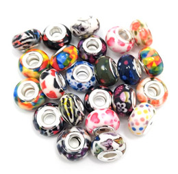 Wholesale Mixed Resin Beads - Brand New 9x14mm Good Quality 100pcs Mix Design 925 Plated Core Big Hole Loose Resin Beads fit European Pandora Charms Bracelet DIY