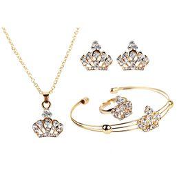 venta al por mayor de joyería de tanzanita Rebajas Conjunto de joyería de lujo de alta calidad Conjunto de cuatro piezas de corona de joyería exquisita de estilo europeo