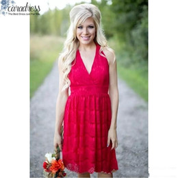 Wholesale Halter Junior Bridesmaid Dresses - 2017 Sexy Country Bridesmaid Dresses Red Short Halter Neck Backless Wedding Party Wear Cheap Maid of Honor Gowns Custom Made