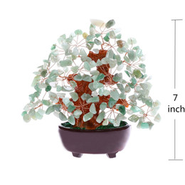 Wholesale Feng Shui Goods - 7 Inch Feng Shui Aventurine Quartz Gem Stone Money Tree Natural Green Crystal Money Tree Office Living Room Good Luck Decoration