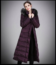 Wholesale Hood Coat Ladies - Womens Winter Long Down Jacket Duck Down Parkas Real Fox Fur Hood Ladies Warm Outwear Coat Hooded Big Size S-5XL Thicking Outdoor Jacket