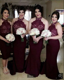 Wholesale Lining Shirt Prices - 2017 Burgundy Bridesmaids Dresses Halter Wedding Party Gowns Mermaid Maid Of Honor Gowns Cheap Price Custom Made Size