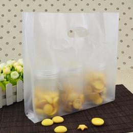 Chiari borse di regalo borse online-Sacchetto d'imballaggio del pane di cottura dei biscotti di plastica chiari opachi del pane con le borse del pacchetto del regalo della borsa di plastica delle maniglie 100pcs / lot