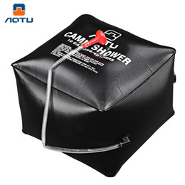 Wholesale Camping Showers - Aotu PVC Cube Emergency Water Bath Bag Camp Shower Solar Shower Bags 40L Portable Bath Drop Shipping OCT for Outdoor Activities B