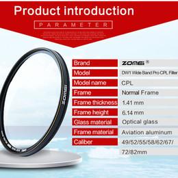 Wholesale Camera Lens Filters 58mm - Polarizer Camera Zomei 58mm Polarizer CPL Filter for Canon Nikon Sony Pentax DSLR Camera Lens Free Shipping