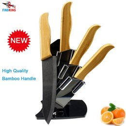 "Wholesale Ceramic Knife Black - D024 Brand High sharp quality Bamboo handle with black blade Ceramic Knife Set 3"" 4"" 5"" 6 "" inch+Holder Stand"