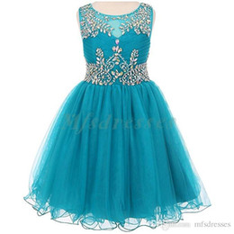 new kids evening gown Promo Codes - 2017 New Teal Tulle Short Girls Pageant Dresses Knee Length Beading Flower Girl Dress Kids Prom Evening Gowns Girls Formal Party Dresses
