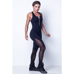 Wholesale Sexy Net Body - New Casual Sportswear Ladies Fashion Elegant Front Zipper Sexy Sleeveless Net Yarn Splicing Piece Body Pants Weight Loss Fitness Dance Pants