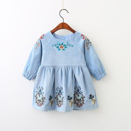 Wholesale Christmas Mini Dress For Babies - Kids Dresses for Girls Clothes 2017 Brand Autumn Animal Flower Embroidered Baby Girls Dress Long Sleeve Princess Dress