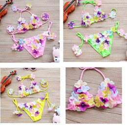 Wholesale Cute Bikinis For Kids - Girls Swimwear Cute Flower Bikini Swimsuit Princess Baby Kid Two Pieces Toddler Clothing For Beach Summer
