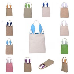 Wholesale Linen Bedding Wholesalers - The New Cotton Linen Easter Bunny Ears Basket Bag Child Fine Festival Handbags Simple Storage Bags Light Pouch For Kids Gifts 8xy R