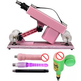 2019 pistola consolador rosa Pink Sex Machine Machine automático para hombres y mujeres Dildo y masturbación masculina Muebles sexuales para parejas Love Robot Machine Juguetes sexuales pistola consolador rosa baratos