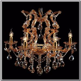 Wholesale Maria Crystal Chandelier Light - Amber chandelier crystal light with K9 crystal maria theresa style Glass crystal lighting fixture MDS06 L6 fast shipping