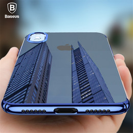 Wholesale Iphone Hard Gel Case - For iPhone X Baseus Luxury Plating Case Coque Ultra Thin Hard PC Back Cover Color Transparent Case For iPhoneX Gel Coque