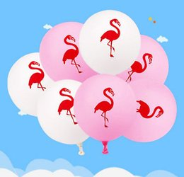 Wholesale Pink Flamingo Party - 12Inch Pink Flamingo Party Balloons Latex Inflatable Ballon Christmas Tropical Party Supplies Wedding Decoration 1000 pcs YYA726
