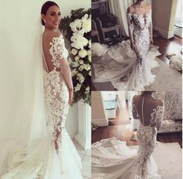 Wholesale Transparent Beach Dresses - 2017 New Sexy Lace Mermaid Wedding Dresses With Cathedral Train Long Illusion Sleeves Button Transparent Back Wedding Gowns Custom Made