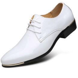 Wholesale Men Italian Patent Shoe - size 38-48 Mens Patent Leather Shoes Black Brand Designer Pointed Toes lace up Men Dress Italian Leather Shoes oxfords wedding shoes