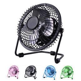 Wholesale Cartoon Plastic Fan - 4 inch metal mini fan Cartoon animals, wrought iron fan Aluminum students ultra-quiet USB fan